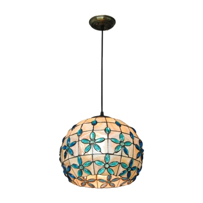Globe Pendant Lamp Tiffany Style Stained Glass Single Head Drop Light with Blue Bead