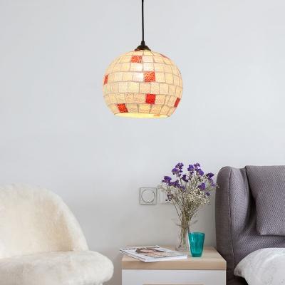 Mosaic Hanging Lamp Modern Tiffany Style Art Glass 1 Head Pendant Light in Bronze Finish