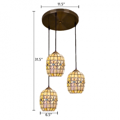 Bucket Ceiling Pendant Light Tiffany Vintage Style Shelly Shade 3 Lights Suspended Light