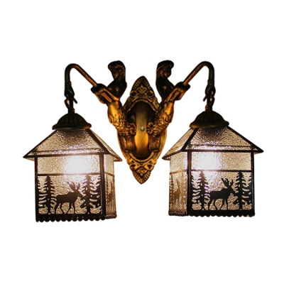 Elk Design Sconce Lighting Lodge Tiffany Style Rippled Glass 2 Heads Wall Light with Mermaid