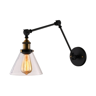 Matte Black 1 Light Cone Clear Glass LED Wall Sconce