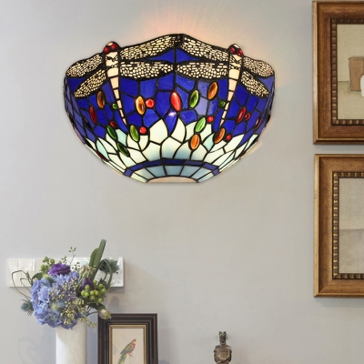 Blue/Red Stained Glass Dragonfly Motif Tiffany Style Sconce Light with Colorful Jewels Accented