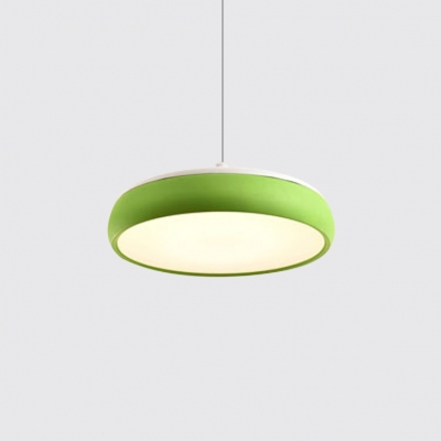 Round Shade Drop Ceiling Lights Nordic Style Metal LED Hanging Pendant in Green/White/Yellow