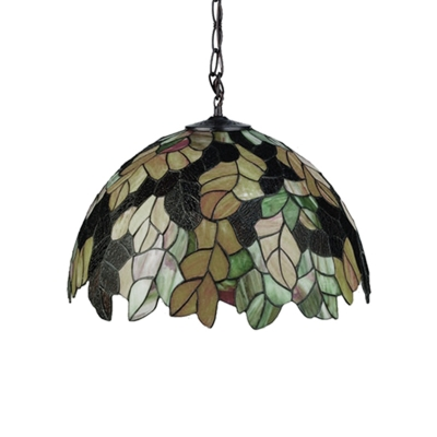 Stained Glass Leaf Hanging Light Tiffany Style 1 Light Pendant Lamp in Multi Color