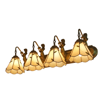 Tiffany Style Leaf Wall Lamp with Mermaid Stained Glass Four Lights Wall Sconce in Beige