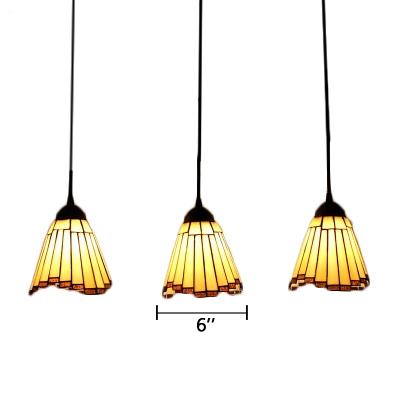 Tiffany Style Mission Geometric Pendant Light Adjustable Amber Glass 3 Lights Hanging Light