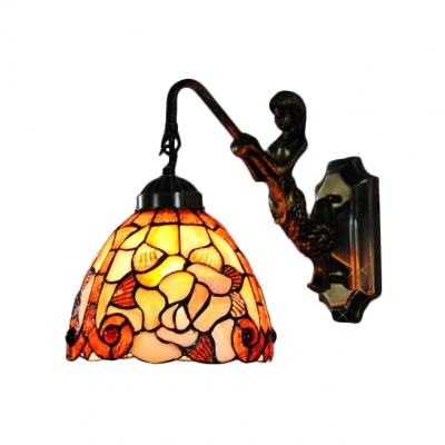 Tiffany Style Rose Design Wall Sconce with Mermaid Stained Glass Wall Lamp in Rubbed Bronze