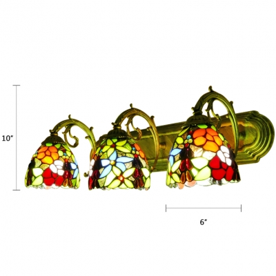 Triple Light Flower Sconce Light Tiffany Retro Style Stained Glass Wall Lamp in Multi Color