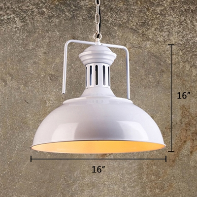 Vintage Pendant Light with Dome Metal Shade