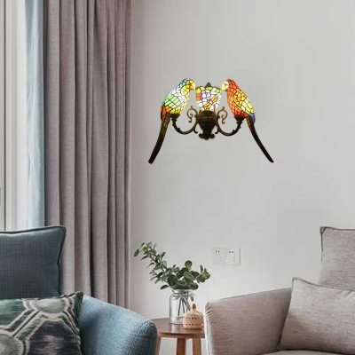 22-Inch Wide Tiffany Style Three Light Wall Sconce with Parrot Shaped Shade, Multicolored