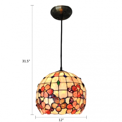Shelly Pendant Light Tiffany Style Stained Glass 1 Light Lighting Fixture in Beige