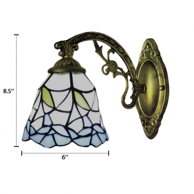 Bell Wall Sconce Tiffany Style Stained Glass Wall Light in Multicolor for Corridor Balcony