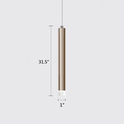 Brushed Gold Tube Pendant Light Post Modern Metal Single Head Track Lighting