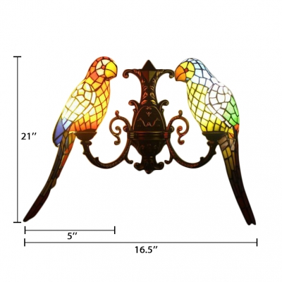 Double Light Wall Sconce with Tiffany-Style Colorful Parrot Shaped Glass Shade, 27