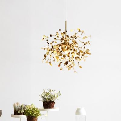 Firework LED Chandelier Post Modern Style Titanium 1 Lights Pendant Lighting in Gold