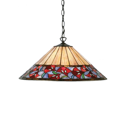 Floral Ceiling Pendant Light Tiffany Vintage Stained Glass 1 Head Hanging Light in Multicolor