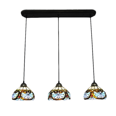 Multicolored Dome Pendant Light Victorian Vintage Stained Glass 3 Heads Art Deco Hanging Lamp