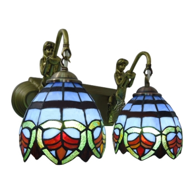 Navy Blue Dome Wall Sconce Tiffany Retro Style Stained Glass 2 Light Wall Mount Light