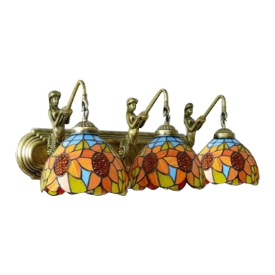 Orange Sunflower Wall Light Sconce Tiffany Retro Style Stained Glass 3 Lights Wall Lighting