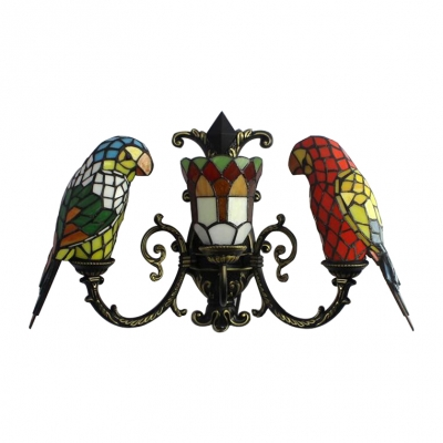 Parrot Wall Light Tiffany Country Style Stained Glass 3 Light Wall Mount Fixture in Multicolor