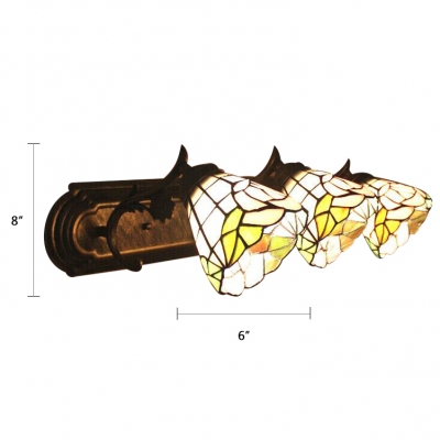 Pink Rosebud Wall Sconce Tiffany Style Stained Glass Triple Light Lighting Fixture for Staircase