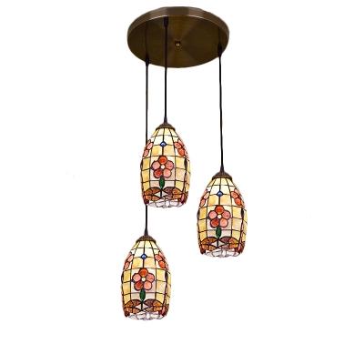 Tiffany Style Dragonfly Drop Light Shelly Triple Head Ceiling Pendant Light in Beige