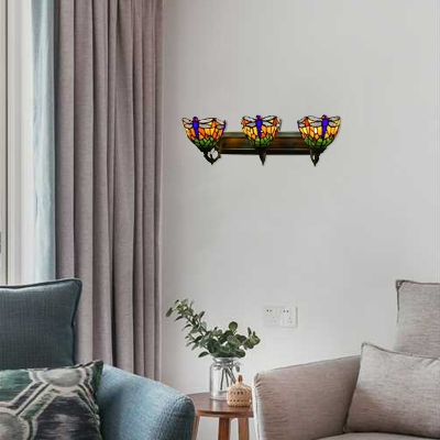 Tiffany-Style Dragonfly Theme,Bowl Design Three Light, Colorful Glass Shade