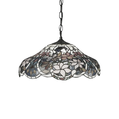 1 Head Floral Ceiling Pendant Light Tiffany Style Stained Glass Suspended Light in Multi Color