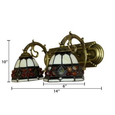 2-Light Wall Sconce with Tiffany Style Multicolored Glass Shade, 16-Inch Wide