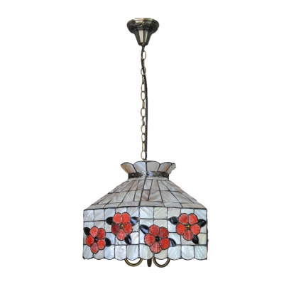 3 Light Geometric Shelly Pendant Light Tiffany Style Stained Glass Hanging Lamp in Multi Color