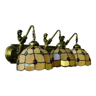 Amber Dome Wall Sconce Tiffany Style Stained Glass Triple Wall Light for Sitting Room
