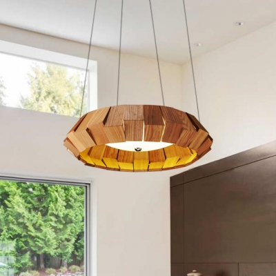 Concave Wooden Hanging Lights Contemporary Simple Style Wood Led Drop