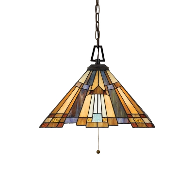 Craftsman Tiffany Geometric Hanging Lamp Stained Glass 3 Head Lighting Fixture in Multi Color