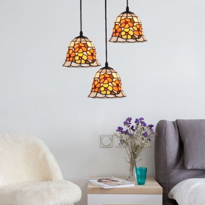 Flower Pattern Lighting Fixture Tiffany Style Adjustable Stained Glass 3 Heads Pendant Lamp
