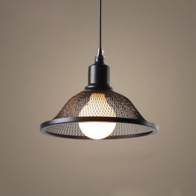 Scalloped Ceiling Pendant Lamp Retro Style Wrought Iron 1 Light Hanging Lamp in Black, HL491259