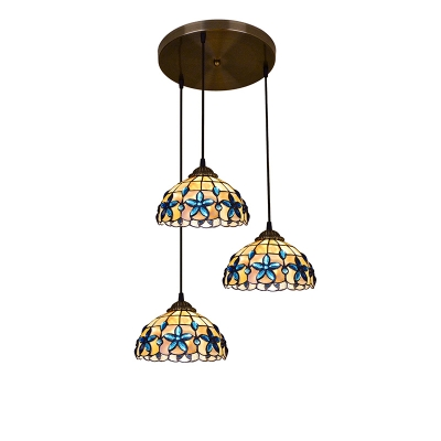 Shelly Hanging Lamp with Blue Beads Tiffany Style Triple Head Drop Light with Metal Canopy