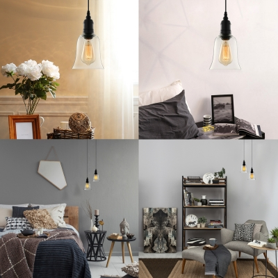 Single Light LED Mini Pendant with Clear Bell Glass Shade
