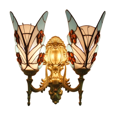 Sky Blue Butterfly Wall Sconce Tiffany Style Rippled Glass 2 Light Wall Lamp for Restaurant