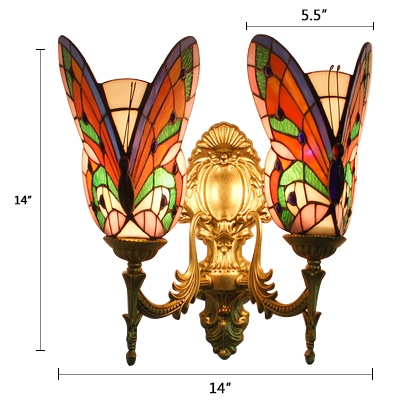 Stained Glass Butterfly Sconce Light Tiffany Style Double Heads Wall Light in Multi Color