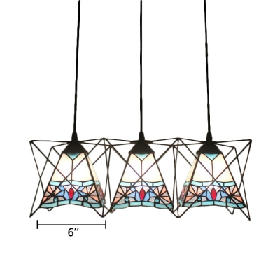 Tiffany Style Pyramid Drop Light Stained Glass 3 Lights Suspended Lamp in Black Finish
