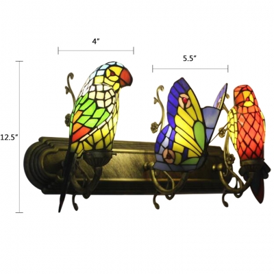 3 Heads Butterfly Wall Mount Fixture Tiffany Style Stained Glass Wall Sconce in Blue and Red