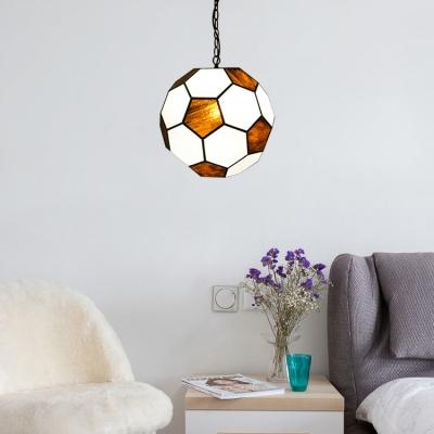 Football Pendant Light Tiffany Modern Stained Glass LED Suspended Lamp for Children Room