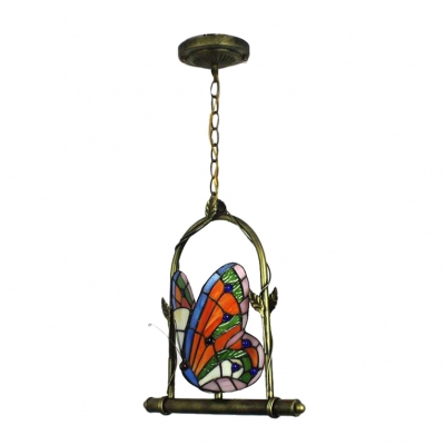 Butterfly Drop Light Tiffany Style Stained Glass 1 Light Suspended Lamp in Multicolor