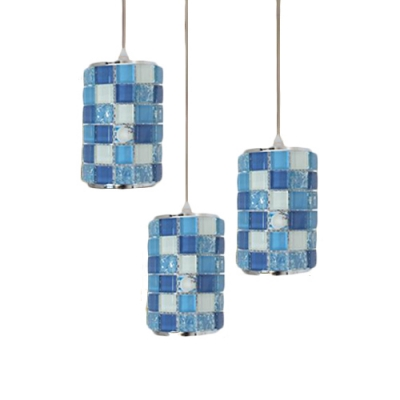 Acrylic Mosaic Design Suspended Light Tiffany Style 3 Lights Ceiling Pendant Lamp in Blue