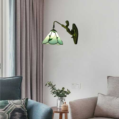 Blue Leaf Wall Sconce Tiffany Style Traditional Stained Glass Wall Lamp for Kitchen