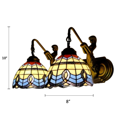Baroque Tiffany Style Dome Wall Lamp Stained Glass 2 Heads Wall Lighting in Blue