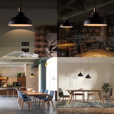 Matte Black Dome Single Pendant Light in Retro Loft Style for Kitchen