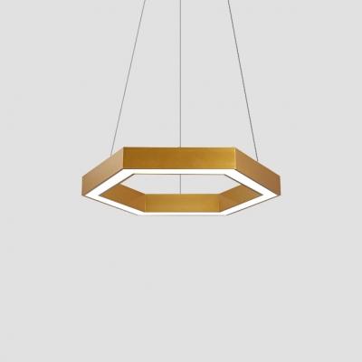 Metal Hexagon LED Pendant Light Simple Gold Finish Chandelier Lights
