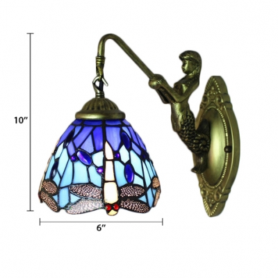 Blue Dragonfly Wall Sconce Tiffany Style Stained Glass Wall Lamp for Bathroom