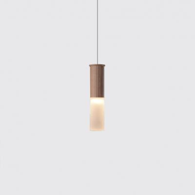 Oak Cylinder LED Pendant Light Nordic Style Acrylic Shade 1-LED Hanging Pendant Lights